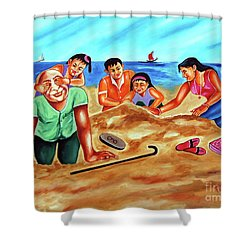 Shower Curtain featuring the painting Happy Family by Ragunath Venkatraman