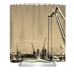 Shower Curtain featuring the photograph Harbor Impression by Werner Lehmann