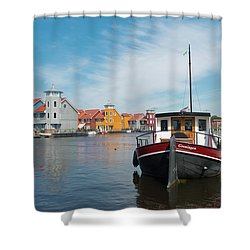 Harbor In Groningen Shower Curtain by Hans Engbers