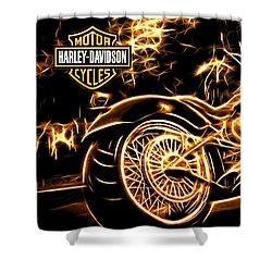 Harley-davidson Shower Curtain by Aaron Berg