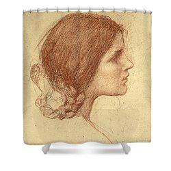 Head Of A Girl Shower Curtain by John William Waterhouse