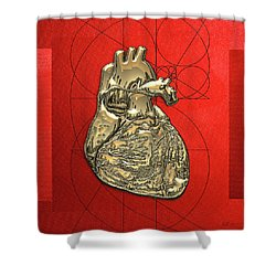 Heart Of Gold - Golden Human Heart On Red Canvas Shower Curtain by Serge Averbukh