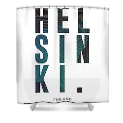 Helsinki, Finland - City Name Typography - Minimalist City Posters Shower Curtain