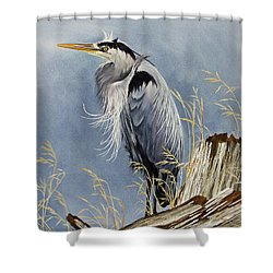 Shower Curtain featuring the painting Herons Windswept Shore by James Williamson