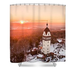 Heublein Tower In Simsbury, Connecticut Shower Curtain by Petr Hejl