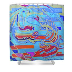 Shower Curtain featuring the painting Hexagram 22-pi by Denise Weaver Ross