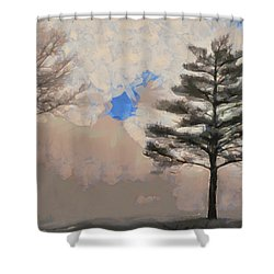 Shower Curtain featuring the mixed media Hickory by Trish Tritz