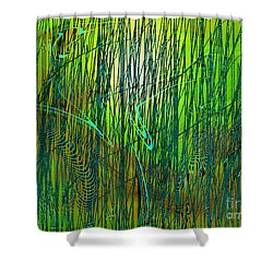 Shower Curtain featuring the digital art Bamboo Dancing by Yul Olaivar