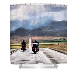 Shower Curtain featuring the photograph Highway In The Wind by Jim Hill