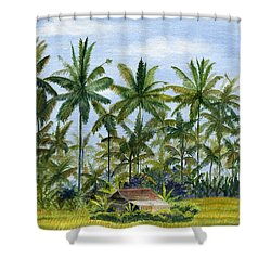 Shower Curtain featuring the painting Home Bali Ubud Indonesia by Melly Terpening