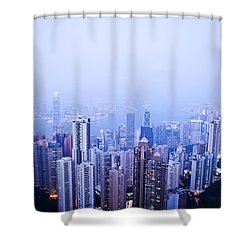 Hong Kong Skyline Shower Curtain by Ray Laskowitz - Printscapes