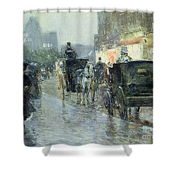 Horse Drawn Cabs At Evening In New York Shower Curtain by Childe Hassam