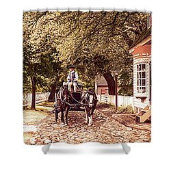 Horse Drawn Wagon Shower Curtain