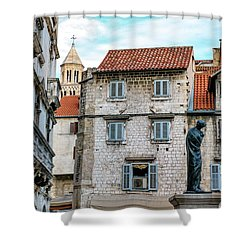 Houses And Cathedral Of Saint Domnius, Dujam, Duje, Bell Tower Old Town, Split, Croatia Shower Curtain