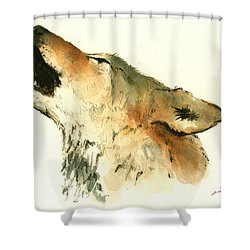 Howling Wolf Shower Curtain by Juan  Bosco