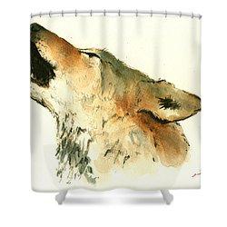 Howling Wolf Shower Curtain by Juan  Bosco