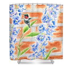 Hummer And Delphiniums Shower Curtain by Kathryn Duncan