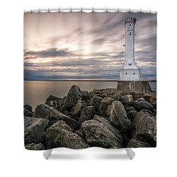 Huron Harbor Lighthouse Shower Curtain by James Dean