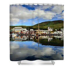 Husavik Harbor Shower Curtain