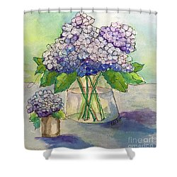 Shower Curtain featuring the painting Hydrangea  by Rosemary Aubut