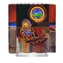 I Saw The Figure Five In Gold Shower Curtain by Charles Stuart