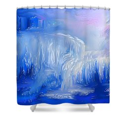 Shower Curtain featuring the painting Ice Falls by Sherri  Of Palm Springs