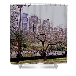 Ice Skaters On Wollman Rink Shower Curtain by Sandy Moulder