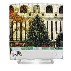 Ice Skating During The Holiday Season Shower Curtain by Nishanth Gopinathan