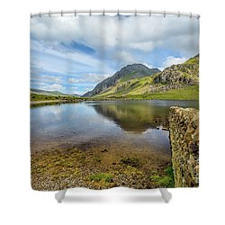 Shower Curtain featuring the photograph Idwal Lake Snowdonia by Adrian Evans