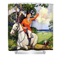 Illinois Mississippi Restored Vintage Poster Shower Curtain by Carsten Reisinger