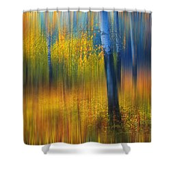 In The Golden Woods. Impressionism Shower Curtain