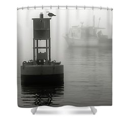 In The Midst Of A Fog Shower Curtain by Richard Bean