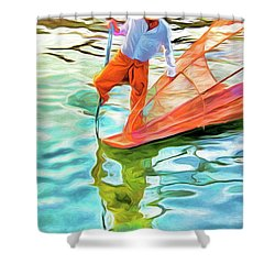 Inle Lake Leg-rower Shower Curtain by Dennis Cox