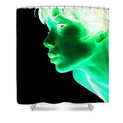Inverted Realities - Green  Shower Curtain by Serge Averbukh