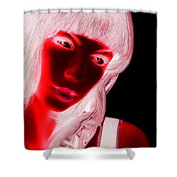 Inverted Realities - Red  Shower Curtain by Serge Averbukh