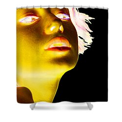Inverted Realities - Yellow  Shower Curtain