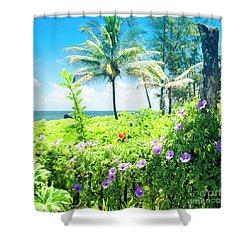 Ipomoea Keanae Morning Glory Maui Hawaii Shower Curtain by Sharon Mau