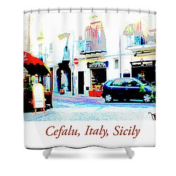 Italian City Street Scene Digital Art Shower Curtain