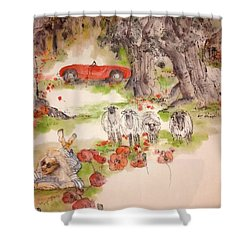 Italy Love Life And  Linguini Album Shower Curtain by Debbi Saccomanno Chan