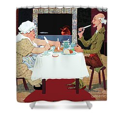 Shower Curtain featuring the painting Jack Sprat Vintage Mother Goose Nursery Rhyme by Marian Cates