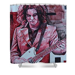 Shower Curtain featuring the drawing Jack White by Joshua Morton