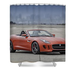 Shower Curtain featuring the photograph Jaguar F-type Convertible by ItzKirb Photography