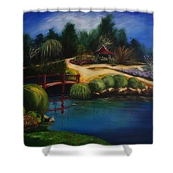Japanese Gardens - Original Sold Shower Curtain by Therese Alcorn