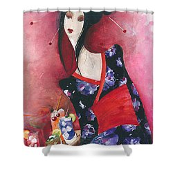 Shower Curtain featuring the painting Japanese Girl by Maya Manolova