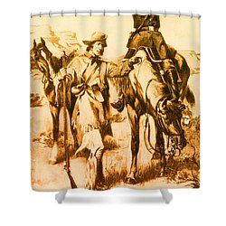 J.c. Fremont And His Guide, Kit Carson Shower Curtain by Photo Researchers