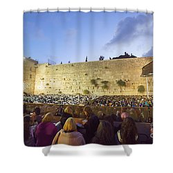 Jewish Sunrise Prayers At The Western Wall, Israel 8 Shower Curtain