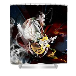 Joe Bonamassa Blue Guitarist Art Shower Curtain by Marvin Blaine