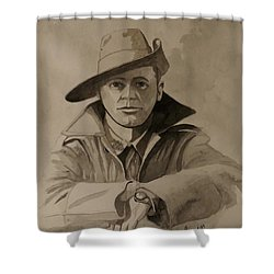Shower Curtain featuring the painting Joe by Ray Agius