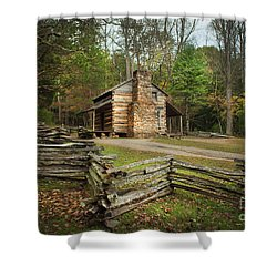 John Oliver Cabin Cades Cove Shower Curtain by Lena Auxier