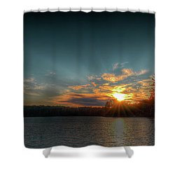 June Sunset On Nicks Lake Shower Curtain by David Patterson